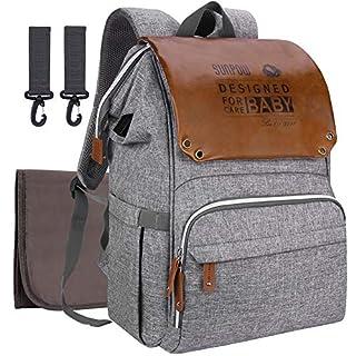 Baby Wickelrucksack Wickeltasche mit Wickelunterlage SUNPOW Multifunktional Oxford Große Kapazität Babytasche Kein Formaldehyd Reiserucksack für Unterwegs (Hellgrau)