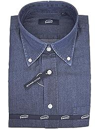 4ad37559754c Grino Firenze Camicia Uomo Indigo Blue Jeans Stonewash Collo Button Down