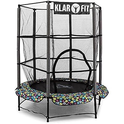 Klarfit Rocketkid 5 cama elástica infantil (140 cm de diámetro, red de seguridad, apta para exterior o interior, peso máximo 50 kg, cuerdas elásticas ocultas, varillas acolchadas, gran estabilidad) -