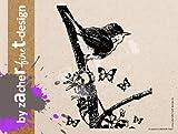 Extra großer Motivstempel Natur Vogel auf dem Ast - Bilderstempel