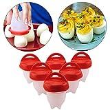 JUEYAN Lot de 6 Cuit Oeufs, Cuiseur à Oeuf, Easy Egg Cooker, Coquetier en Silicone Anti-Adhésif, Oeuf Moules pour Faire bouillir Les œufs, pocheuses à œufs-Rouge