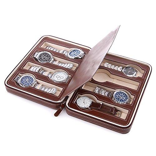 Preisvergleich Produktbild Gytech 8 Grids Watch Schmuck Aufbewahrungsbox Travel Watch Organisieren Kunstleder Case (Brown)