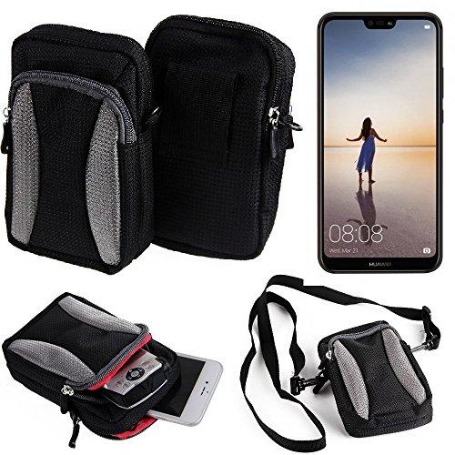 K-S-Trade Für Huawei P20 Lite Single-SIM Gürteltasche Umhängetasche Für Huawei P20 Lite Single-SIM schwarz-grau + Extrafach mit Platz für Powerbank, Festplatte etc.   Case travelbag Brustbeute