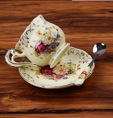 SSBY Set de tasse à café continental, tasse à café en céramique porcelaine ivoire et soucoupe, thé de thé de l'après-midi, cadeaux de mariage , B