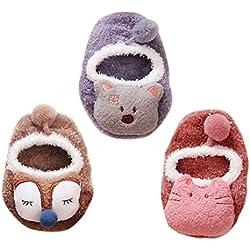 Happy Cherry - Socks for Baby Homewear Socks para Bebé Niños Calcetines Antideslizante para Niñas Forma de Animal Divertido Lindo Zapatos Antideslizantes para Recién Nacido - 2-3 Años
