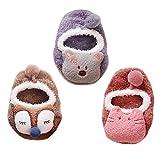Happy Cherry - 3 Paia di Calzini Elasitici per Neonati Bambino Bambina Antiscivoli Modello di Animale Cartone Animato Pantofole Calze Divertenti Traspiranti - Colore Casuale - 1-2 Anni