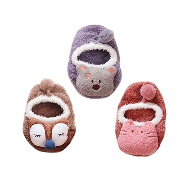 Happy Cherry - 3 Pares de Recién Nacido Calcetines Antideslizantes Primer Paso para Primavera Otoño Zapatillas de Casa… 1