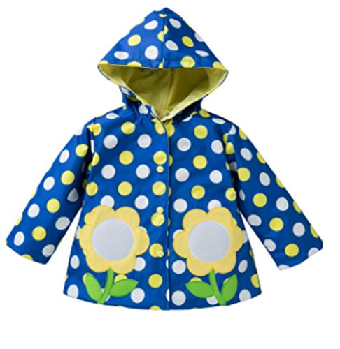 Koo-T Girls Rain Coat Jacket Summer Hood Windbreaker Spring Mac Raincoat Age 1 to 6 Years Pink/Blue/Green/Purple/Red