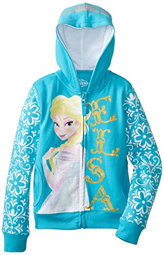 Click for larger image of Girls Frozen Elsa Fleece Jacket Turquoise 6 Years Turquoise