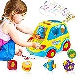 ACTRINIC Baby Spielzeug 6-18 Monate,Musikbus für Früherziehung,Verschiedene Tiergeräusche,Musik,Licht und Tierpuzzle,Kleinkinder Säugling Jungen Mädchen 1- 2 Jahre alt Geschenke