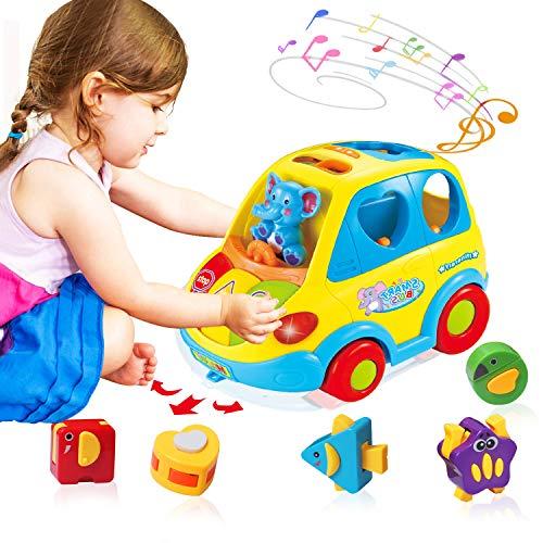 ACTRINIC Baby Spielzeug 6-18 Monate,Musikbus für Früherziehung,Verschiedene Tiergeräusche,Musik,Licht und Tierpuzzle,Kleinkinder Säugling Jungen Mädchen 1 2 3 Jahre alt Geschenke (Baby-geschenk, 2 Jahre Alt)