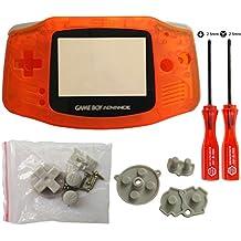 iMinker Boîtier complet coque Pack Case Cover pièces de rechange avec des outils ouverts pour Nintendo Game boy Advance, GBA (Transparent Orange)