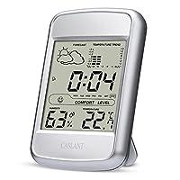 Monitor de humedad interior,higrómetro digital Monitor de termómetro, Completa estación meteorológica con pantalla LCD, hora, fecha, alarma, pronóstico del tiempo, temperatura, humedad interior y fase lunar.