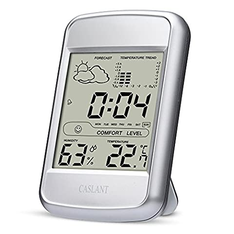 Indoor Humidity Monitor, Digital Hygrometer Thermometer Monitor Home Weather Station with LCD Display Alarm Clock Calendar time