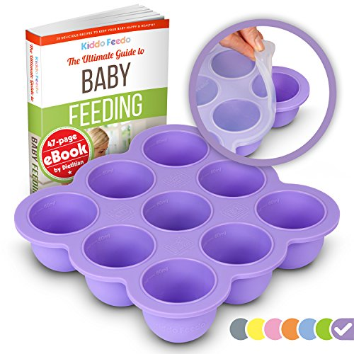 KIDDO FEEDO Baby Food Storage - The Amazon Original Freezer Tray Container with Silicone Clip-On Lid - Free E-Book by Award-Winning Author/Dietician - Purple