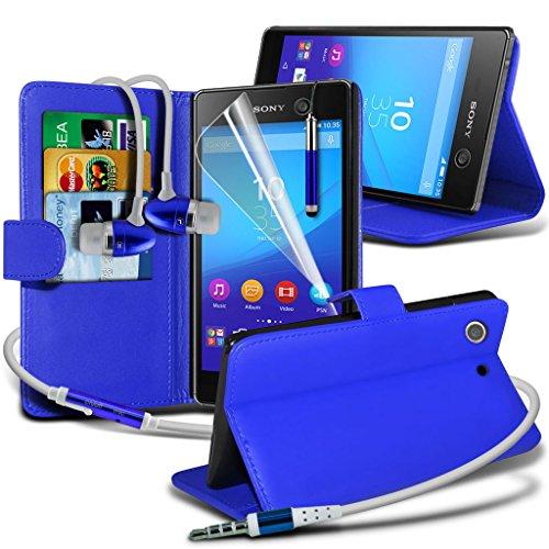 Étui pour Sony Xperia M5 / Sony Xperia M5 E5603, E5606, E5653 Titulaire de téléphone Case voiture universel Mont Cradle Dashboard & pare-brise pour iPhone yi -Tronixs Wallet Earphones ( Blue )