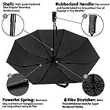 Automatik Regenschirm mit LED Griff, reflektierende wendbar Regenschirm faltbar Sicherheit, Regen und UV-Schutz Winddichte und wasserfeste, schwarz