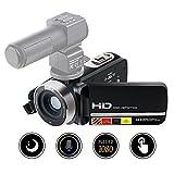 Camcorder Digital Videokamera FHD 1080P IR Nachtsicht 24MP 16X Digitalzoom mit externem Mikrofon und Touchscreen