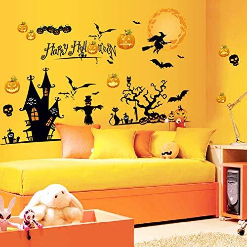 Zihuist Wandaufkleber Halloween Kürbis Hexe Vinyl Wandtattoo Removable DIY Tapete Fenster Schlafzimmer Dekoration für Kinder Halloween Party Größe 60 * 90 cm