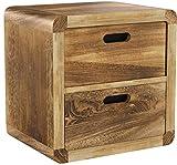 NEG Schubladenschrank VINUJA (naturbraun) 3-TLG. Nachttisch/Kommode/Teetisch aus Echtholz (Paulownia)
