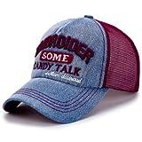 Brolux(TM) 1 PC Baseball Caps Women Denim Cap Sun Hats Breathable Mesh Hat Summer Cap For Women Men Girls Vintage Snapback Gorras Casquette [Wine Red ]