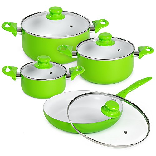 TecTake 8 piece ceramic cooking pots lids pan pot saucepan cookware set - different colours - (Green)