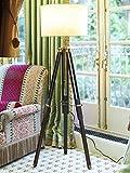 Teak Wood Tripod Floor Lamp with Shade a...