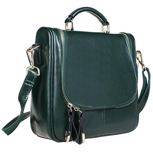 S-ZONE donne della signora Girls Retro Trio Piccolo Genuine Leather Backpack Satchel Crossbody borsa verde
