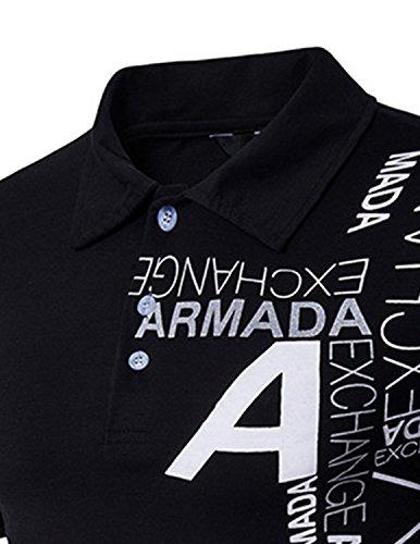 YCHENG Herren Poloshirt Polohemd Polo T-Shirt Kurzarm Casual Tops Schwarz