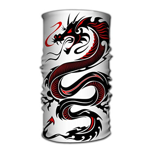 Xunulyn Stirnband Unisex Variety Scarf Wrap Bandanna Headwear Neck Gaiters Head Scarf Face Masks Flaming tribal Dragon Black red Colours Simple -