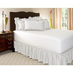 Queen White Ruffled Bed Skirt with 21 Drop
