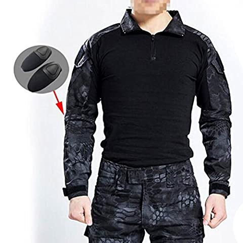 WorldShopping4U Men BDU Shooting Combat Long Sleeve Camo Shirt with Elbow Pads for Tactical Military Army Airsoft Paintball (M)