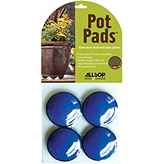 Allsop Home and Garden Pot Pads, Deck and Patio Protection with 3,000 lbs Rating, Discreet Non-Skid Planter pad Lifters/risers / feet/Toes, (Cobalt, Set of Four, 1-Count)