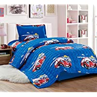 Kids Compressed 3Piece Comforter Set, Single Size, Sleepy Car, Blue,