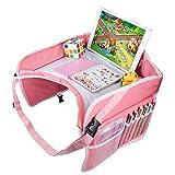 Kinder Reisetisch Kindersitz Play Tray und Knietablett Reisetisch ,Esstisch Spieltisch Autositz Tisch für Reisen, Buggys, Auto, kfz, Kinderwagen, Flugzeug, Bahn -Rosa