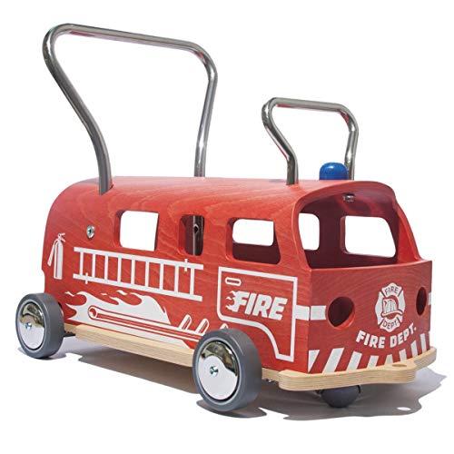 3 in 1 LAUFLERNWAGEN UND RUTSCHFAHRZEUG MAAMUU FIRE DEPT HOLZ und EDELSTAHL Made in Italy
