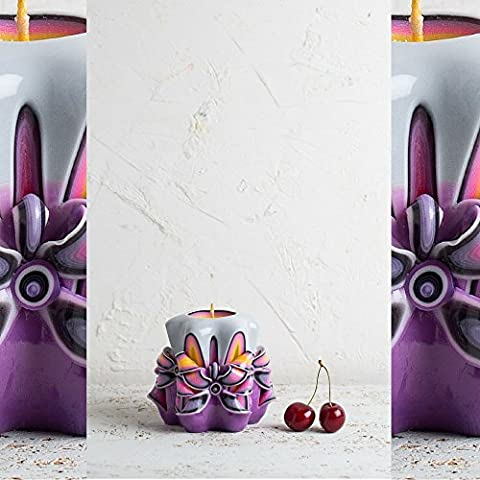 Baby and Kids Gift Ideas - Purple Decorative Carved Candle - Christmas Handmade Special -