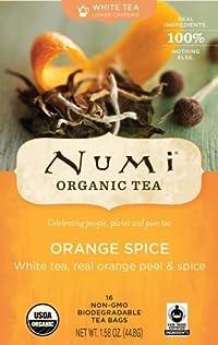 Numi Organic Tea White Orange Spice, Full Leaf White Tea, 16-Count Tea Bags, 1.58 Oz (Pack of 2)