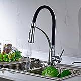 Aimadi Mischbatterie Küchenarmatur Wasserhahn Küche Herausziehbar Küchenspüle Geschirrbrause Spültischarmatur Ausziehbar Chrom Schwarz