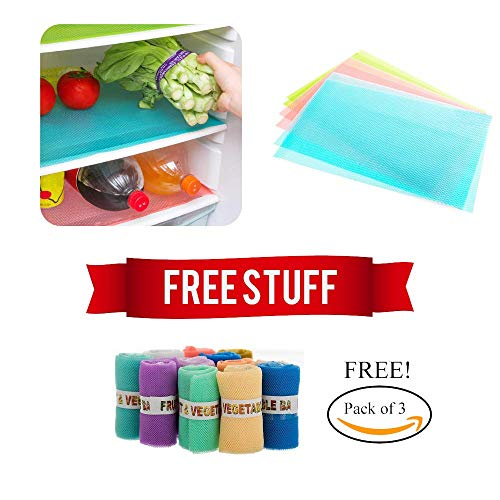 Free 3 Vegetable NET Bags !! Buy Home and More PVC Refrigerator Drawer Multi Purpose Place Mats (17 X 12) (6 Pieces) and GET 3 Vegetable Reusable Fridge Net Bags Absolutely Free