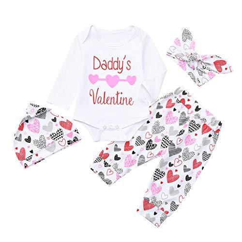 HEETEY Kinderkleidung 4Pcs Säuglingsbabymädchen Langarm-Buchstabe-Herz-Druck-Valentinsgruß-Spielanzug Hose + Hut + Haarband vierteilig