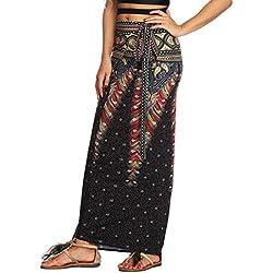 Jiayiqi Mujeres Étnicas Impresión Maxi Falda Envuelto Playa Cubrir Vestido