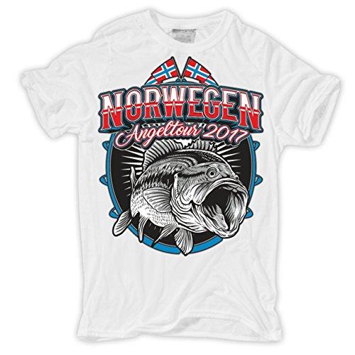 Männer und Herren T-Shirt Norwegen Angeltour 2017 Weiß