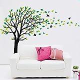 Bdecoll Romantico Fiore Albero Rosso Adesivi Murali/Adesivi da Parete Removibili/Stickers Murali/Decorazione Murale (Black)