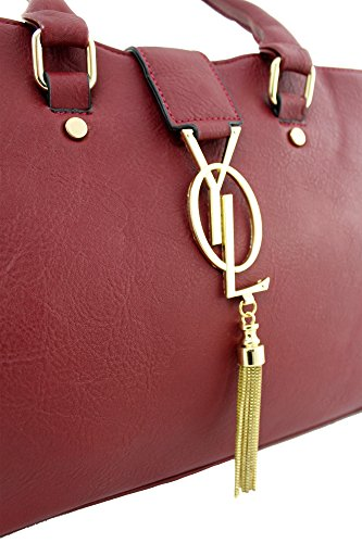 KUKUBIRD GOLD DRAPE FAUX LEATHER DESIGNER TOTE HANDBAG BURGUNDY