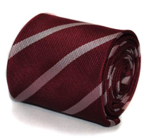 frederick-thomas-cravatta-a-righe-uomo-rosa-maroon-and-pink-taglia-unica