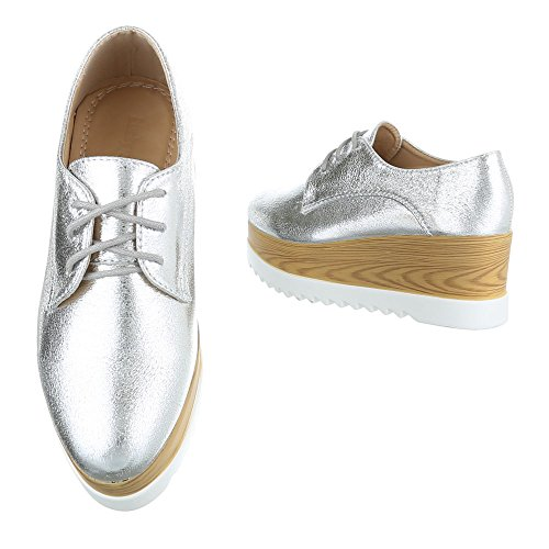 Ital-Design , Chaussures à lacets femme Silber