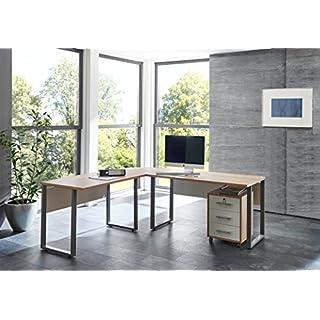 BMG Möbel Office Edition Tabor Schreibtisch Winkelschreibtisch mit abschließbarem Rollcontainer in Eiche Sonoma/Weiß 205 * 177 cm Arbeitsfläche