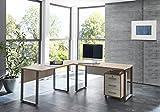 BMG Möbel Schreibtisch Eckschreibtisch Winkelschreibtisch mit abschließbarem Rollcontainer in Eiche Sonoma/Weiß 205 * 177 cm Arbeitsfläche, Made in Germany