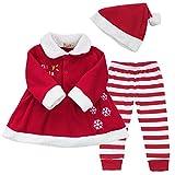 iEFiEL Costume Noël Vêtement Bébé Filles Robe + Pantalon + Chapeau Ensembles 9-24 Mois Rouge 9-12 mois